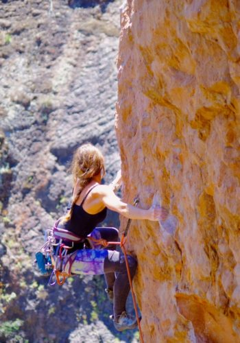 At the crux of Pretty in Pink, 5.12a.