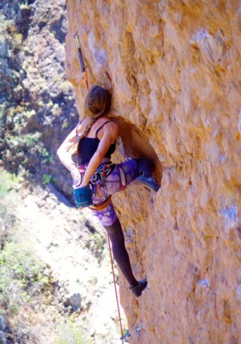 Cool little no-hands-knee-bar rest on Pretty in Pink, 5.12a.