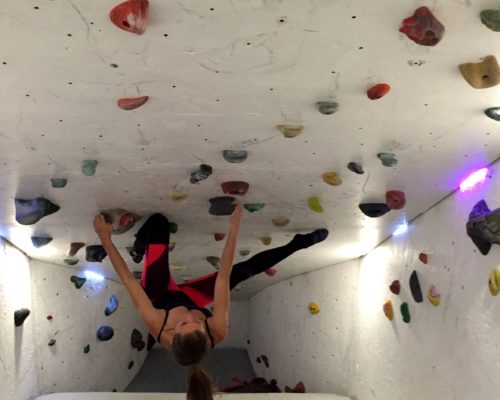Getting a little core action in on the bouldering cave!