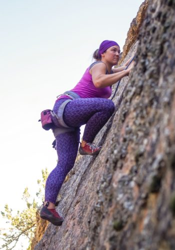 Laura enjoying some shade and technical climbing on a nice 5.10c slab.
